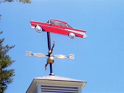 Car weather vane mounted on roof